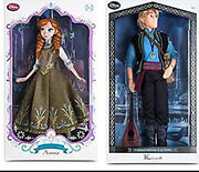 Disney Store Limited Edition 17 Inch Dolls Frozen Kristoff And Green Dress Anna Le