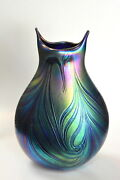 Blue Luster Owl Vase With Red Heart Design. Blown Glass