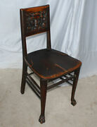 Antique Oak Vanity Or Small Office Chair – Carved Woman Face – Original Finish