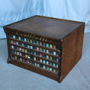 Antique Country Store Corticelli Advertising Oak Spool Cabinet