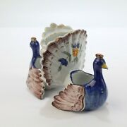 Old Or Antique Figural French Faience Pottery Peacocks Double Salt Cellar - Pt