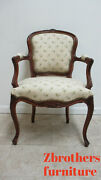 Antique Quality French Country Carved Living Room Arm Lounge Chairs Italian B