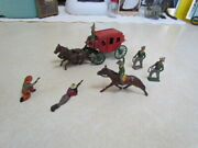 Vintage 1950's England Crescent Toys Lead Metal Stagecoach W/driver Andgunfighters