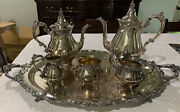 Wallace Baroque Tea And Coffee Set 6 Piece Vintage Siverplate Set