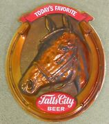 Vintage Falls City Beer Sign Horse Head Horseshoe - 1960and039s Lightweight