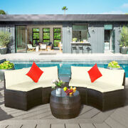 Us 4 Pcs Patio Furniture Sets Outdoor Sectional Furniture W/pillows Coffee Table