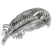 Beautiful Vintage Brooch With Diamonds In White Gold, Germany Um 1965