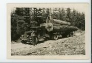 Blue Collar Forestry Logger With Truck Logs Vintage Snapshot Found Photo