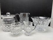 5 Pc Waterford Lismore + Lot Biscuit Jar Pitcher Bowl Cream And Sugar Fab