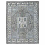 9and039x11and0397 Gray Ancient Animal Motifs Design Pure Wool Hand Knotted Rug R55605