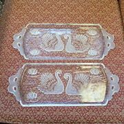 1980s Mikasa Walther Glass Lead Crystal Frosted Swan Serving Platter Tray Pair