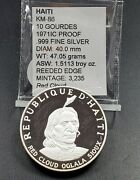 1971 Haiti 10 Gourdes Silver Proof Coin Indian Chief Red Cloud Oglala Sioux