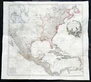 1746 J B D Anville Large Rare Antique Map Of North America Pre French Indian War