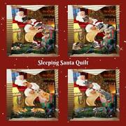 Christmas Santa Sleeping With Gifts Dog Cat Pet Lovers Quilt Home Décor