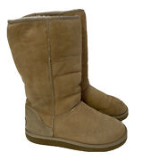 Ugg Australia Classic Tall Sand Suede Shearling Lined Boots Womens Size 7 5815