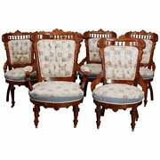 Six Antique Eastlake Spindled Walnut And Burl Upholstered Parlor Chairs C1890