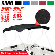 3 Bow / 4 Bow Boat Bimini Top Replacement Canvas Cover Fabric No Frame 600d Us