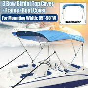 Bimini Top Boat Cover 3 Bow 46 H 85 - 90 W 6ft Long W/ Boot Cover Re