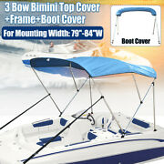 Bimini Top Boat Cover 3 Bow 46 H 79 - 84 W 6ft Long W/ Boot Cover Re
