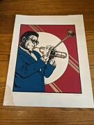 Dizzy Gillespie Ned Shaw Signed Print Litho Numbered Jazz 70s Lp Cover Art Music