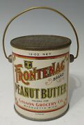 Vtg Frontenag Brand Peanut Butter 12 Ounce Tin Can Pail Vintage Old