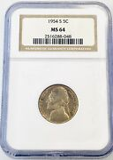 1954 S Jefferson Nickel Ngc Ms64 Brown Label Graded Us Coin Nice Toning