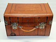 Antique Knights Templar Leather Suitcase Trunk For Uniform And Chapeau Lock And Key