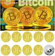 10 Pcs Gold And Silver Bitcoin Coins Commemorative Collectors Gold Plated Bit Coin