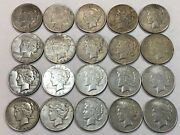 Roll Of 20 Mixed Dates Peace Silver Dollar Coins Toned Vf. Rmd72