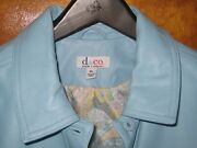 Denim And Co Qvc Button Front Pastel Blue Leather Jacket Size Xl Printed Lining