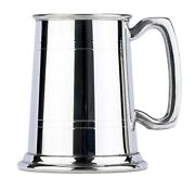 Commodore Two Line Fine English Pewter Tankard Beer Mug Made In England