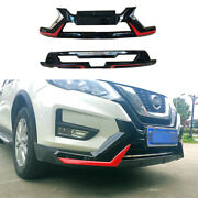 For Nissan Rogue 2017-2020 Gloss Black Front Rear Skid Plate Bumper Board Guard