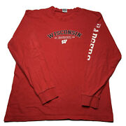 Vintage Soffe Menandrsquos Large Wisconsin Badges Spellout Long Sleeve T Shirt Red