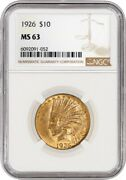 1926 10 Indian Head Eagle Gold Ngc Ms63 Brilliant Uncirculated Coin 052