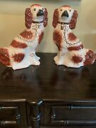 Staffordshire Pottery Dogs Porcelain Spaniels Red And White Pair 12x9andrdquo