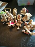 Vintage 1970's Wooden Doll House Dolls Figures / Toys