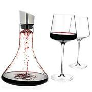 - Wine Decanter 54-ounce And Aerator Pourer Lid - With Two Crystal Glasses