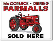 Farmall Mccormick Deering Tractor Sold Metal Sign Tin New Vintage Style 26