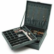 2 Layer Jewelry Box Ring Earring Necklace Bracelet Case Storage Organizer Green