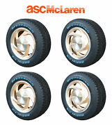 1989-1990 Asc Mclaren Mustang Oem Wheels W/ Center Caps Gold And Silver Set Of 4