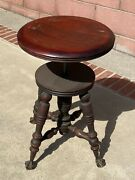 Antique Victorian Cherry Or Similar Wood Piano Stool - 4 Glass Claw Legs