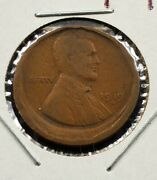 1919 D Large Size Off Center Broad Struck Error Lincoln Wheat Cent Penny Coin Vf