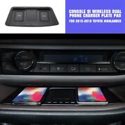 Fit 15-2019 Toyota Highlander Console Qi Wireless Dual Phone Charger Plate Pad