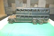 1920's A. C. Williams Cast Iron Double Decker Bus Some Dark Green Paint Remains
