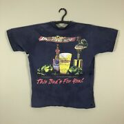 Vtg Faded Distressed Budweiser Frog T-shirt Size Large Single Stitch Beer Usa