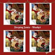 Christmas Santa Sleeping With Gifts Dog Cat Pet Woven Blanket