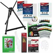 U.s Art Supply 60-piece Deluxe Acrylic Painting Set With Aluminum Tabletop Ea...