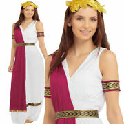 Roman Toga Party Adults Fancy Dress Costume Greek Goddess Ladies Outfit New