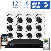 16 Channel Nvr 12 X 6mp Poe 2.8mm Lens Microphone Turret Security Camera System