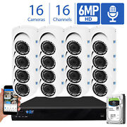16 Channel Nvr 16 X 6mp Poe 2.8mm Lens Microphone Turret Security Camera System